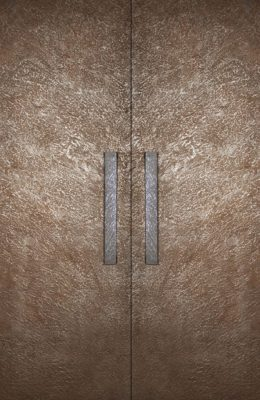 Designer Textured Rust and Corten Steel Door Skins with handles for Entrance Doors, Bedroom Doors, Main Doors and Front Doors by Evolve India - Special Finishes. Can be customised.