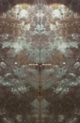 Designer Textured Verdirgris Door Skins with handles for Entrance Doors, Bedroom Doors, Main Doors and Front Doors by Evolve India - Special Finishes. Can be customised.