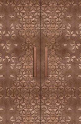 Designer Textured Bronze Door Skins with handles for Entrance Doors, Bedroom Doors, Main Doors and Front Doors by Evolve India - Special Finishes. Can be customised.